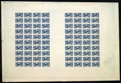 Great Britain: 1918-19 Bradbury, Wilkinson 2/6d., a printers Proof sheet of eighty  in blue, each overprinted 